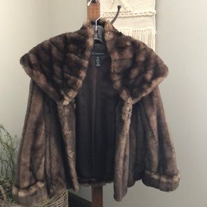 INC Faux Fur Coat - M